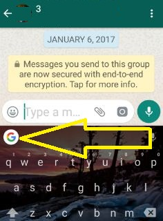 Tap G button from keyboard on WhatsApp