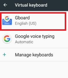 Tap Gboard under virtual keyboard in android