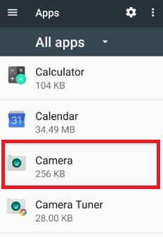 Tap camera from list of apps settings android