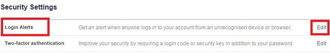 Tap edit under login alerts in facebook