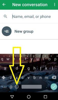 Tap emoji icon in Gboard keyboard