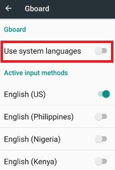 Turn off system languages android 7.0