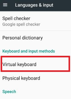 Virtual keyboard in L&I settings android