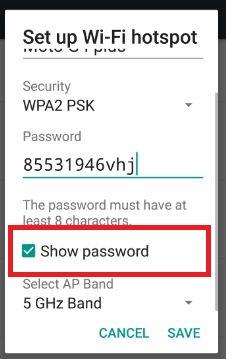 change Wi-Fi hotpost password 7.0 nougat phone