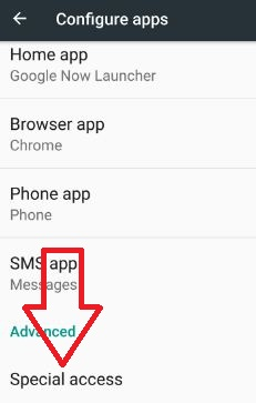 tap special access in configure app settings