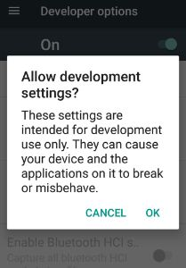 turn on toggle button of developer mode