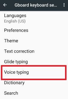 voice typing under Gboard keyboard option