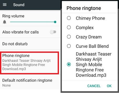Change default ringtone in android 7.0 phone