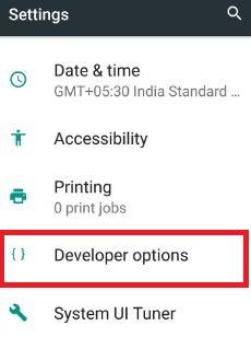 Developer options under settings in nougat 7.0