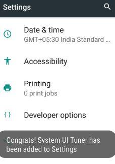 Enable system UI tuner on nougat 7.0 phone