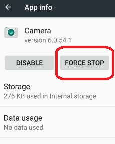 Force stop camera in android 7.0 nougat