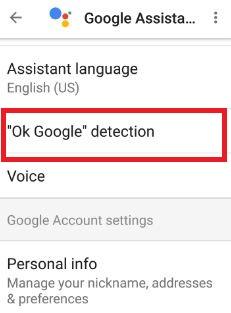 Tap OK Google detection under settings