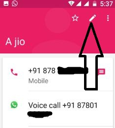 Tap pencil icon of contact want to set ringtone