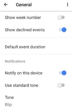 control notifications for calendar events in android