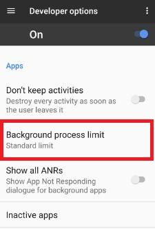 Background process limit Google pixel phone