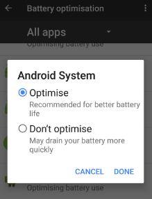 Optimise app for bettery battery life on Google pixel
