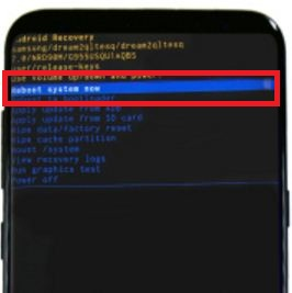 Reboot system now on Samsung galaxy S8 phone