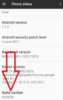 Tap on build number seven times enable hidden developer mode