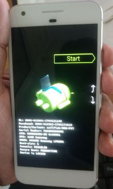 Android system recovery mode view in pixel phone