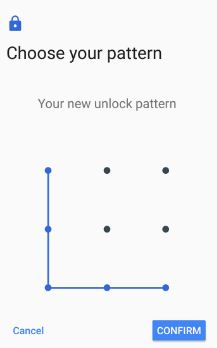 Confirm pattern lock to set as lock screen
