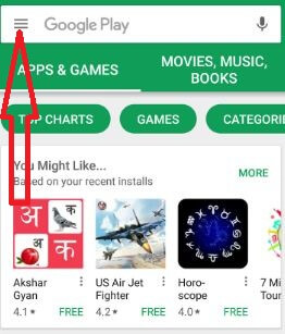 Tap on menu icon in play store