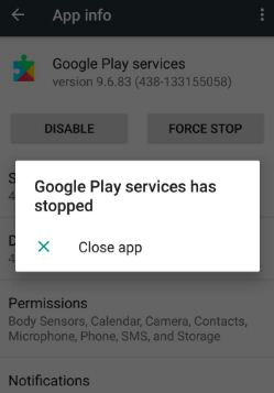 fix Google Play services has stopped working android