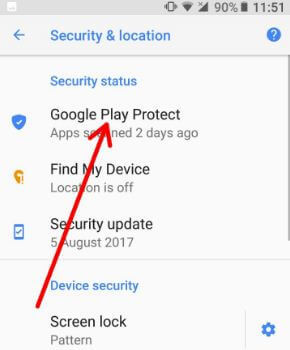 Google Play protect under security in android 8.0 Oreo
