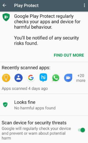 How to enable Google Play protect on Google Pixel XL