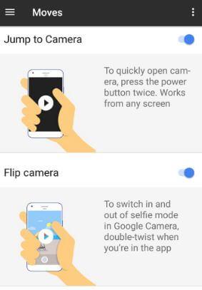 Pixel camera gesture for jump camera and flip camera
