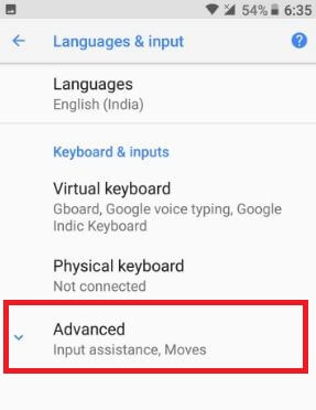Tap on advanced in language & input in android Oreo