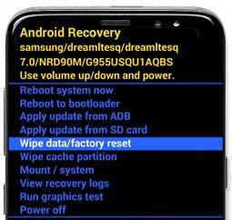 factory reset Samsung Galaxy S8 plus
