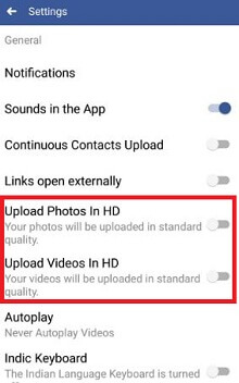 turn off uplaod photos and videos in HD