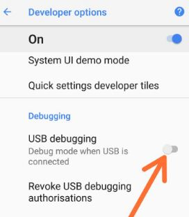 Android 8.0 Oreo USB debugging option