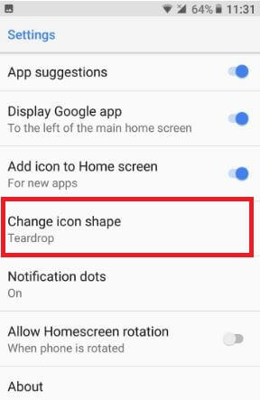 Android 8.0 home screen settings
