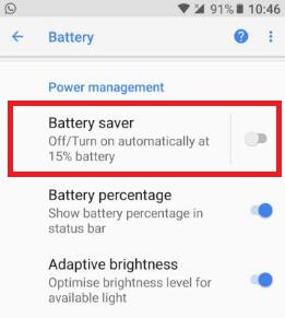 Battery saver mode in android Oreo 8.0 smartphone