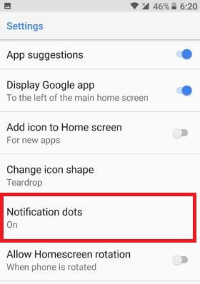 Disable notification dots from home screen settings on Android Oreo
