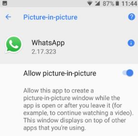 Enable picture-in-picture mode in WhatsApp video call