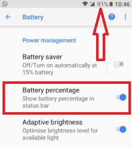 Show battery percentage in your android Oreo 8.0 phone