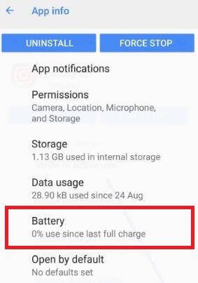 Tap battery icon in app notifications settings in android Oreo