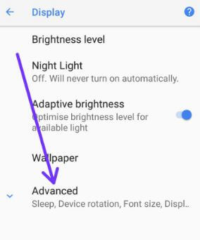 Tap on advanced section in android 8.0 Oreo device