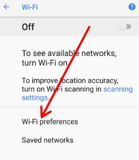 Use Wi-Fi preferences on android Oreo 8.0 devices