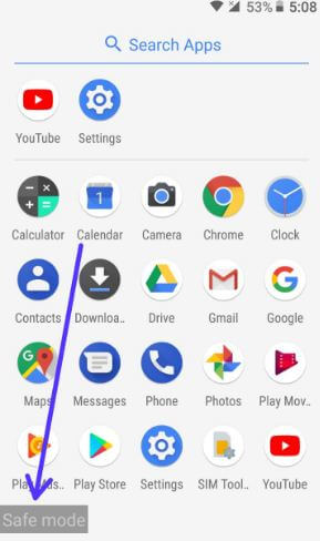 Use safe mode in android Oreo 8.0 device