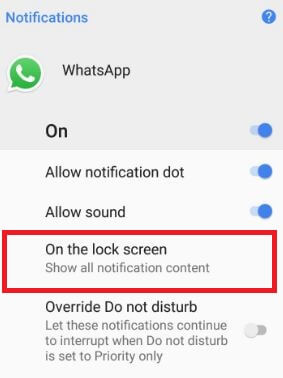 hide Lock screen notification info in android Oreo