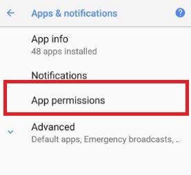 App permissions settings on Oreo