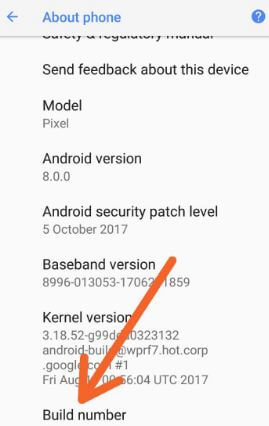 Tap Build number seven times in Pixel 2 phone