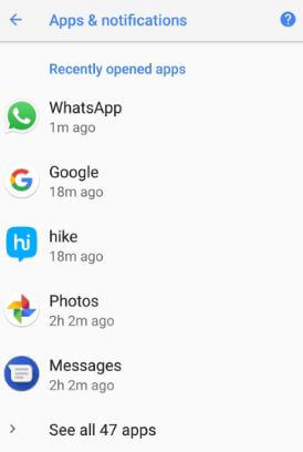 Android 8.1 added recently opened apps features
