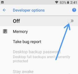 Disable developer options on android 8.1 Oreo