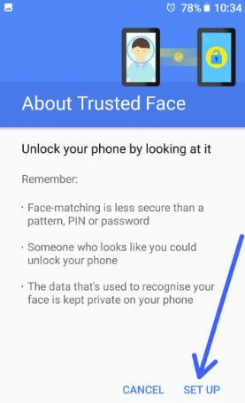 Set up trusted face in android Oreo devices