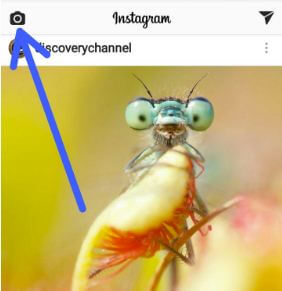 Tap camera icon on Instagram app in android