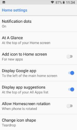 Android 8.1 Home screen settings